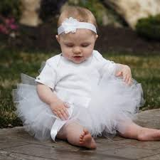 Flower Girl Dress Tutu White Baby Tutu Birthday Tutus for Baby Girls  Infants Tutu Birthday Tutus Girls First Birthday Outfit Baby Headband