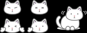 白猫のかわいいフリーイラスト素材