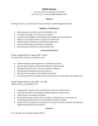 Resume Pediatric Nurse Example Pediatric Nurse Resume Www Sfeditorwatch Com