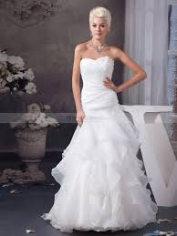 organza wedding gowns. Strapless Pleated Organza Wedding Gown with Asymmetrical Tiers