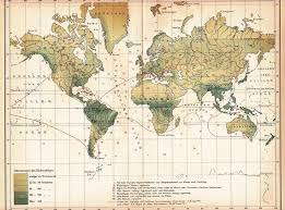 1898 Rain Chart Statistical Map Of The Rainfall Diversity On The Earth At The End Of The 19th Century Original Antique Statistical Map