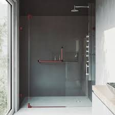 frameless pivot shower door with hardware and