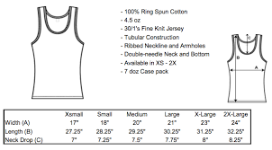Top Measurement Chart Tank Top Sizing The Ann Arbor T Shirt Company