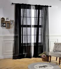 back tab and rod pocket window crushed voile sheer curtains for living room black 51 x 84 inch set of 2 crinkle sheer curtain panels home kitchen