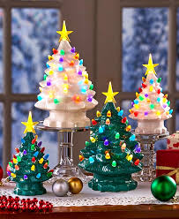Ceramic Tabletop Christmas Tree With Lights Custom Retro Ceramic Tabletop Christmas Trees The Lakeside Collection