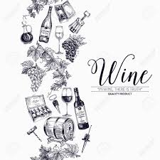 Wine Border Template Vector Background With Hand Drawn Wine Bottle Wine Cask And