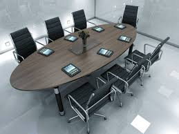 Boardroom Table Designs Dark Wood Oval Meeting Room Desk And Black Chairs Dark