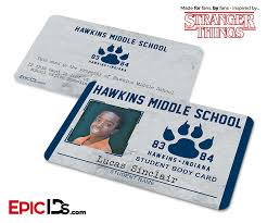 Ids Epic Card Lucas 'stranger - Hawkins Sincla Middle Id Student School Things'