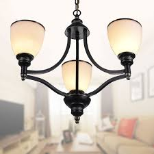 3 light black wrought iron chandelier with glass shades dk 5308 3s
