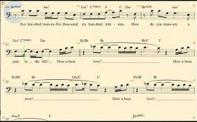 rent seasons of love sheet music bass seasons of love rent sheet music chords vocals youtube