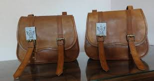 tan leather saddlebags for motorcycles