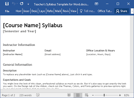 Teacher Syllabus Teachers Syllabus Template For Word