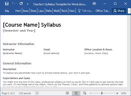 Teachers Syllabus Template For Word