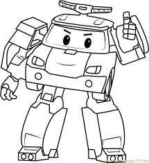 Robocar Poli Coloring Pages Roy For Kids Printable Free