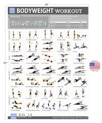 Total Body Gym Workout Chart Bodyweight Exercise Poster Total Body Fitness Laminated