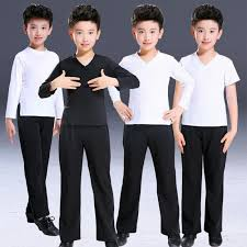 Shirts And Pants Boys Latin Dance Shirts And Pants White Black Competition Stage Performance Professional Ballroom Waltz Chacha Dancing Outfits