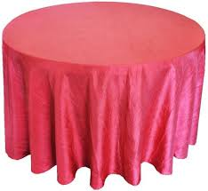 picture of table cloth 120 apple red crushed taffeta round