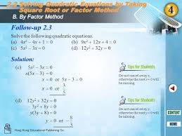 2 2 solving quadratic equations by taking square root or factor method