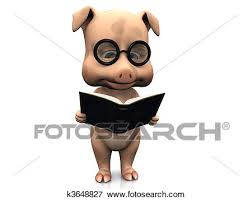 a cute cartoon pig wearing gles reading a book that he is holding in his hands white background