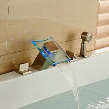 bathtub design antique led glass waterfall spout bathtub faucet widespread mixer tap brushed nickel deck mount