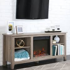 walker edison driftwood tv stand with fireplace insert for tvs up to 60 multiple colors com