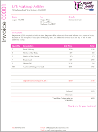 makeup invoice template ricdesign makeup artist invoice template
