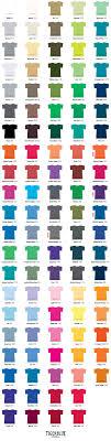 T Shirt Color Chart T Shirt Color Chart