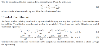 the 1d advection diffusion equation for