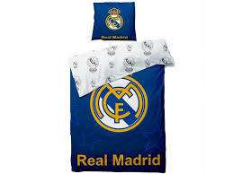 real madrid logo duvet cover single 140 x 200 cm blue