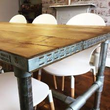 industrial style scaffold board dining table 8 seater rustic metal frame pipe
