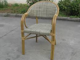 commercial outside furniture double aluminum sling chair for dinner bamboo like chair textilene fabric