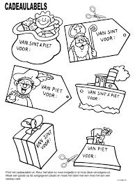 Kleurplaat Cadeaulabels Sinterklaas Kleurplatennl