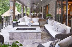 Long Covered Patio with Stone Pillars Cottage Deckpatio