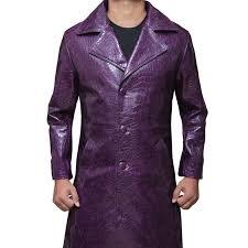 crocodile purple leather joker trench coat