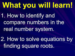 how to identify and compare numbers in the real number system
