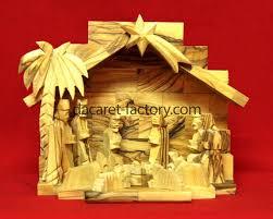 traditional star olive wood nativity set 0