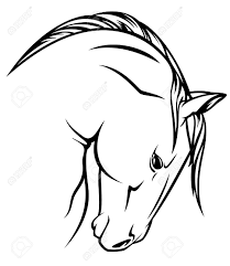 Horse Profile Vector Outline Black Over White Royalty Free