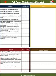 Household Maintenance List Free Fall Home Maintenance Checklist Google Docs Excel