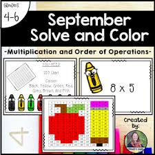 September School Solve And Color Multiplication And Order Of Operations