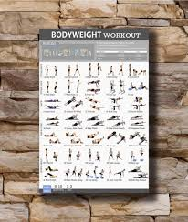 Body Fitness Chart Art Poster New Bodyweight Workout Body Exercise Training Fitness Chart Light Canvas Wall 14x21 20x30 24x36in N448