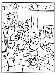 Kleurplaat Sinterklaas In Het Ziekenhuis Kleurplatennl