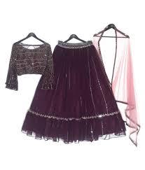 Landmark Designer Studio Online Shopping Landmark Designer Studio Purple Georgette Chaniya Choli Stitched Lehenga