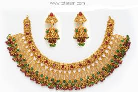22k gold antique necklace set with ruby beads 235 gs388 in 84 000 grams