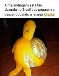 dopl3r.com - Memes - A malandragem está tão absurda no Brasil que pegaram a  casca roubando a laranja