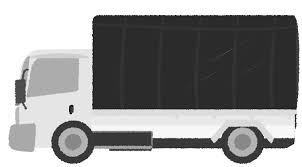 トラックのイラスト 可愛いシルエット正面素材 チコデザ