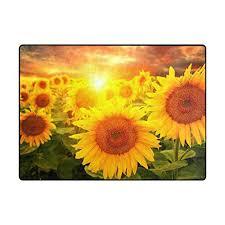 sunflower area rugs area rug field of sunflowers and sunset non slip floor mat carpet for