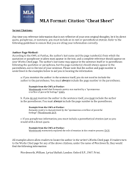 Mla Citation Quotes Mla Cheat Sheet For Quotes