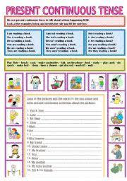 Present Continuous Tense Esl Worksheet By Bburcu
