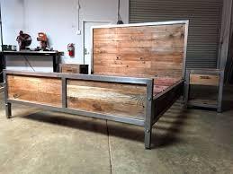 industrial wood furniture. Reclaimed Wood Bedroom Furniture Hardwood Recycled Bed Vintage Style Wooden Combination With Metal Skeleton Brown Simple Industrial
