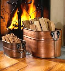 firewood bucket extra storage for the season small copper plated oval firewood tub ks copper firewood